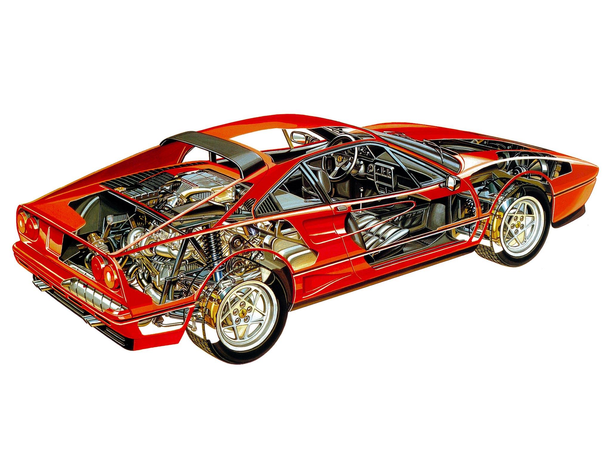 Ferrari GTB Turbo cutaway drawing