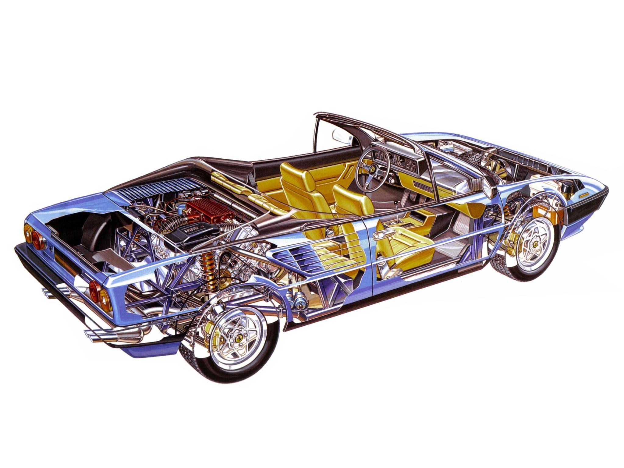 Ferrari Mondial Cabriolet cutaway drawing