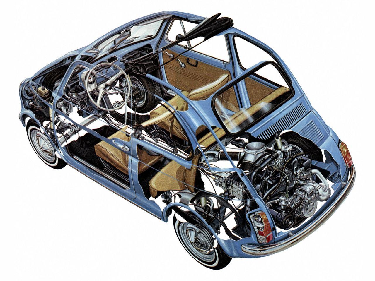 Fiat Nuova 500 cutaway drawing