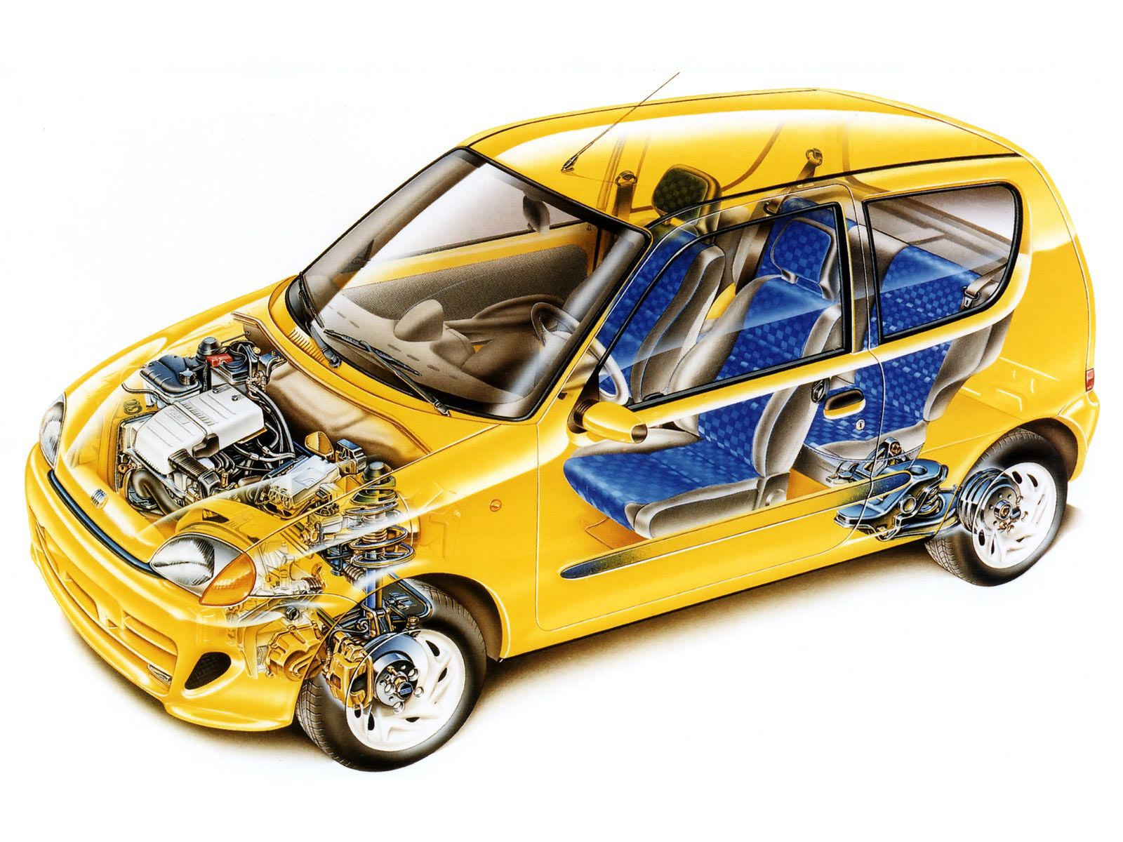 Fiat Seicento Sporting cutaway drawing