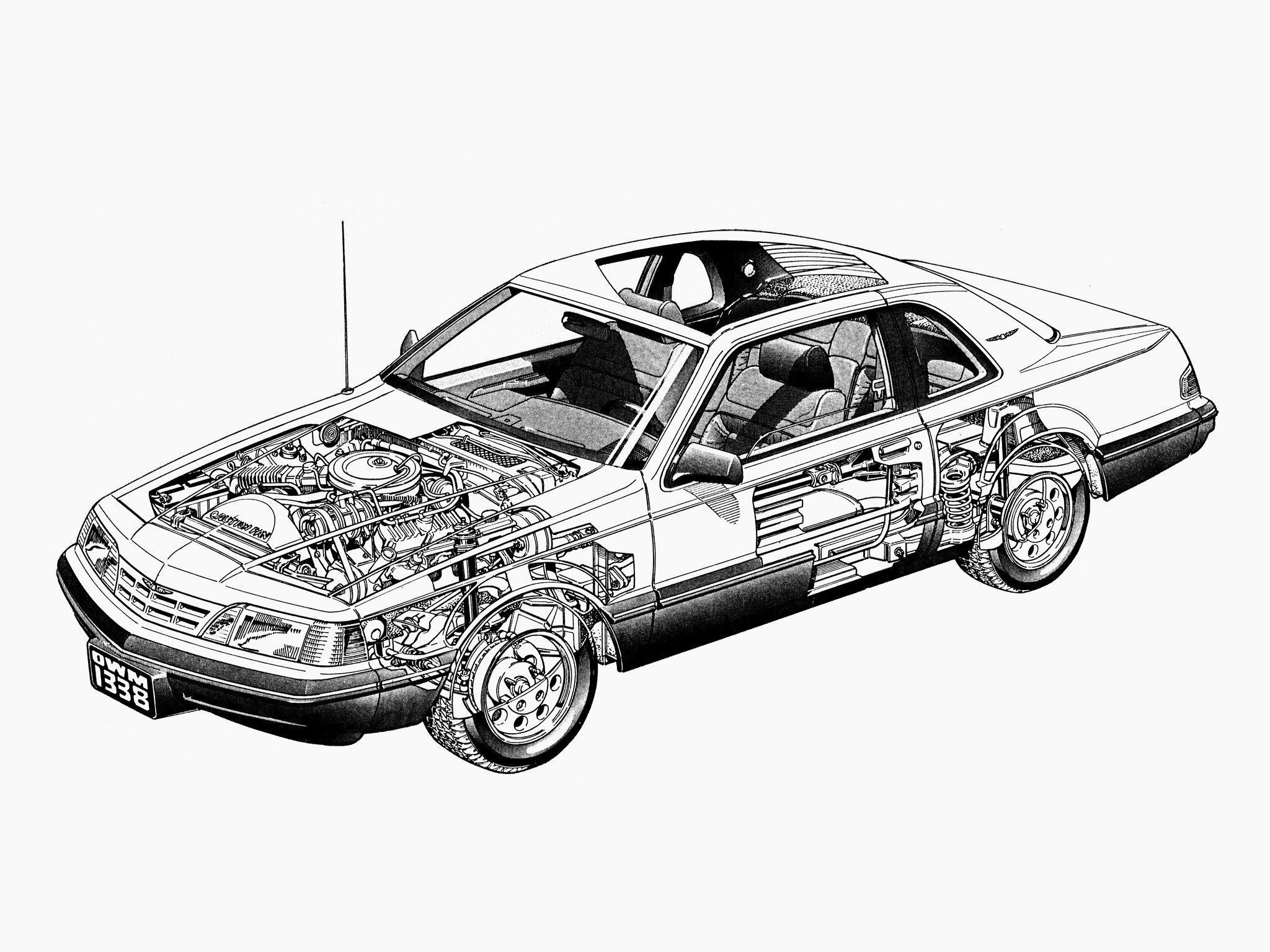 Ford Thunderbird cutaway drawing