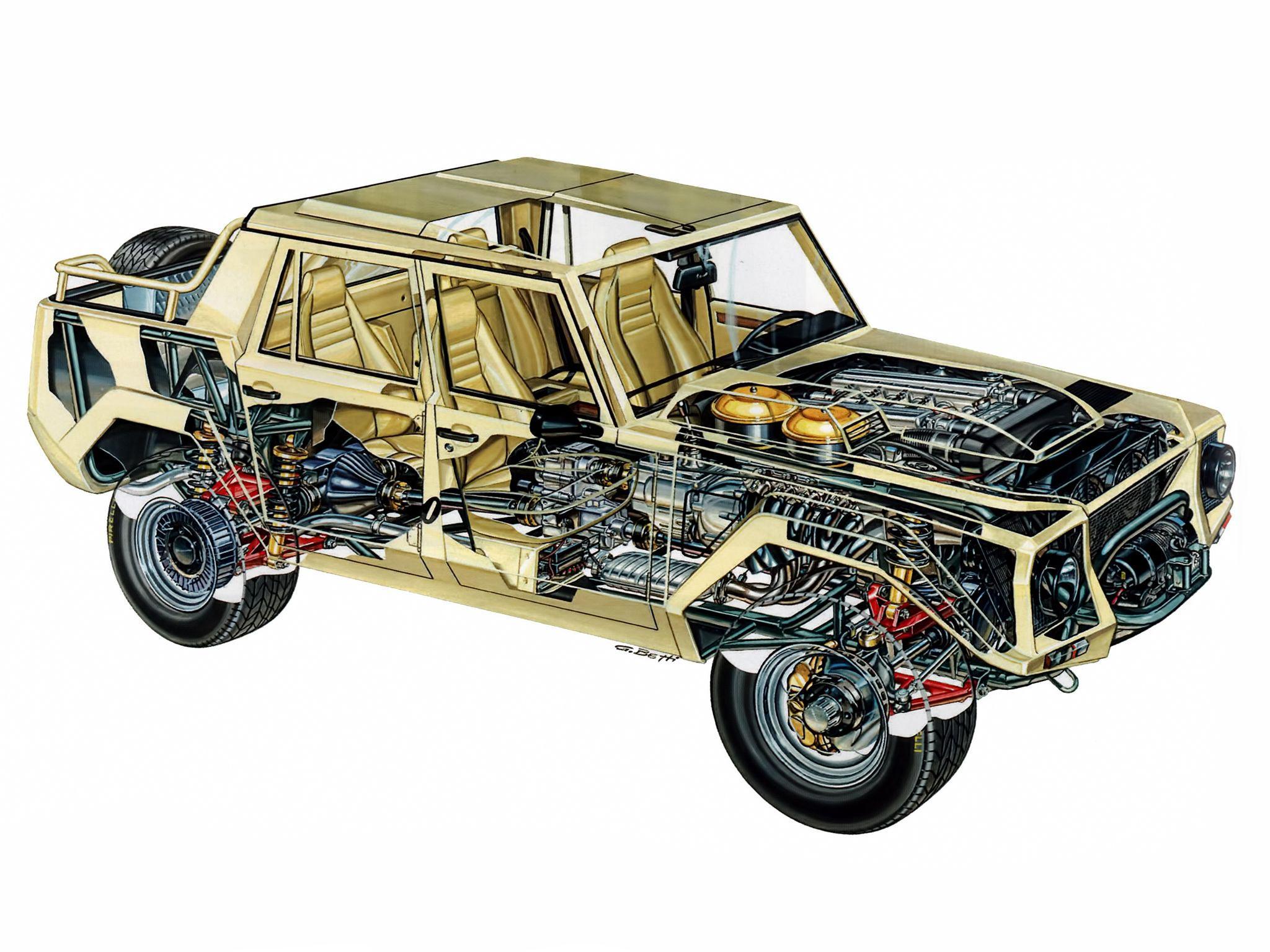Lamborghini LM002 cutaway drawing