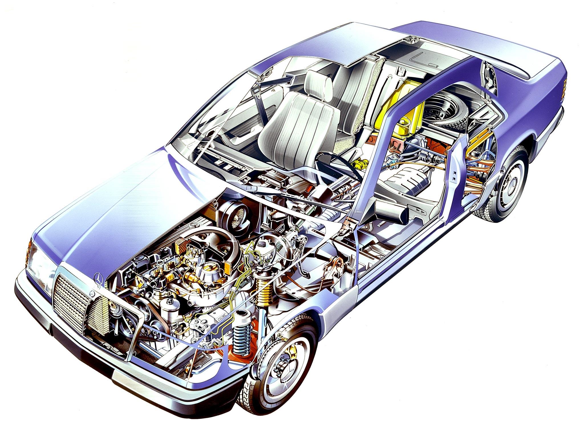 Mercedes-Benz E-Class cutaway drawing