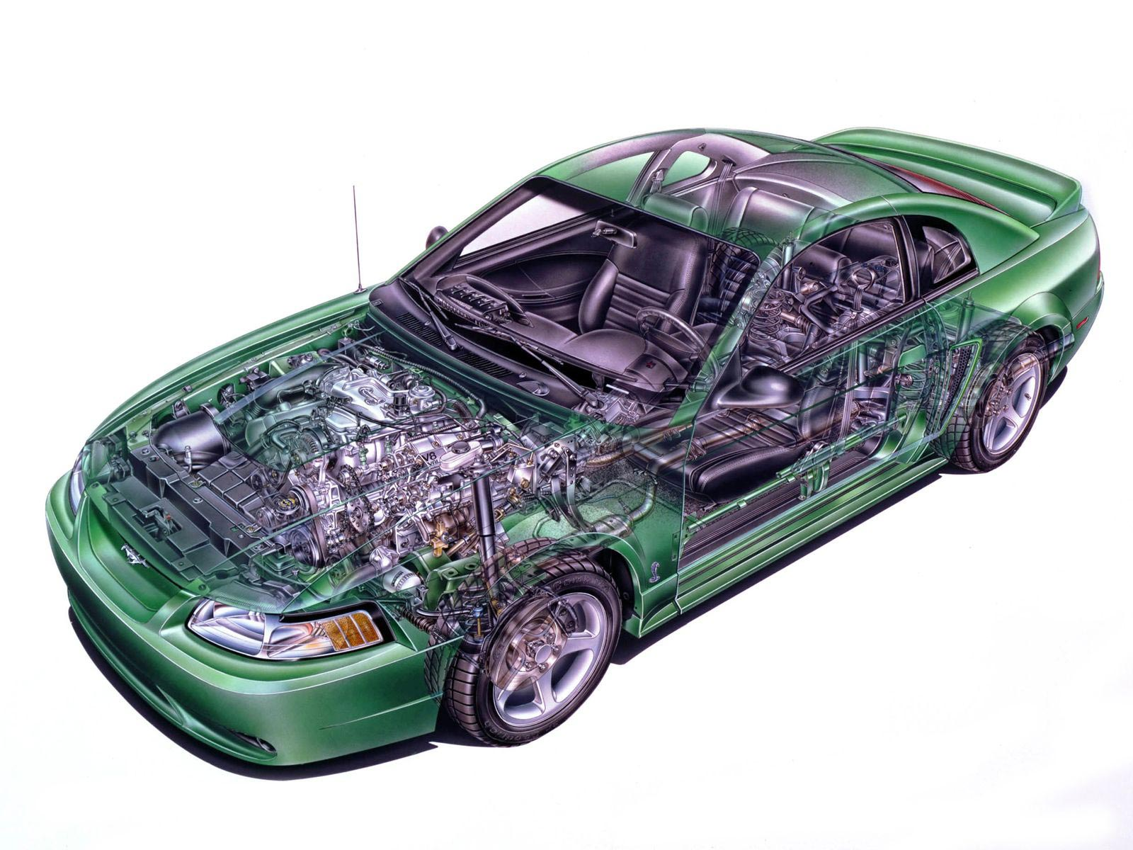 Ford Mustang SVT Cobra cutaway drawing