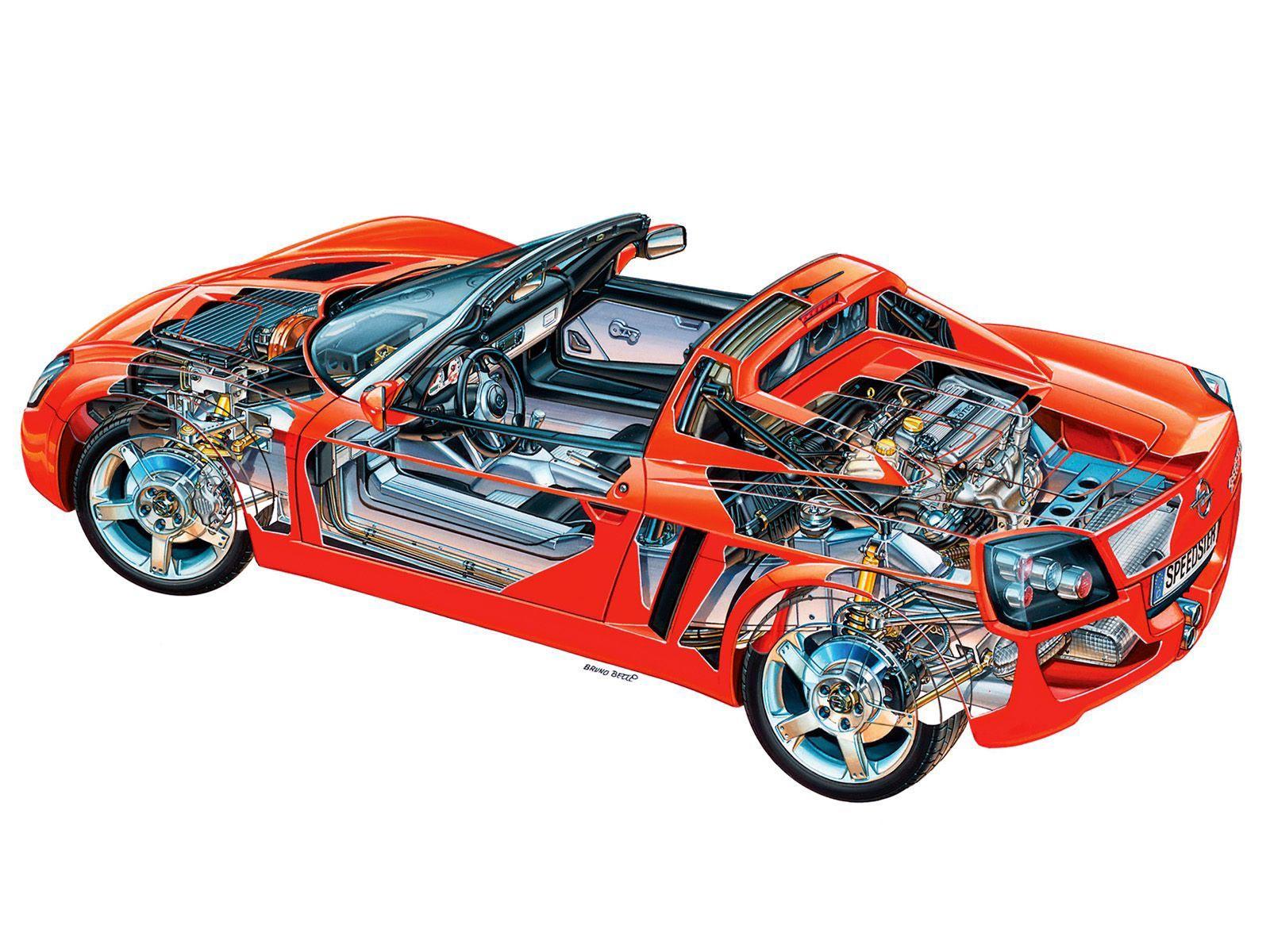 Opel Speedster cutaway drawing
