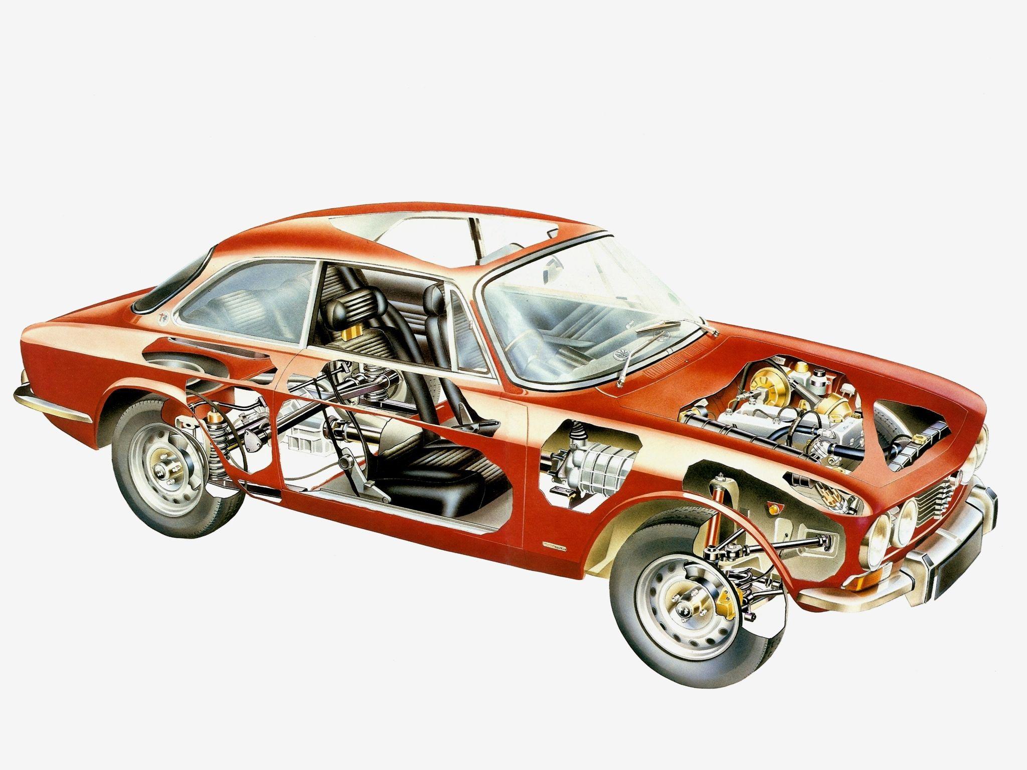 Alfa Romeo 2000 GT Veloce cutaway drawing