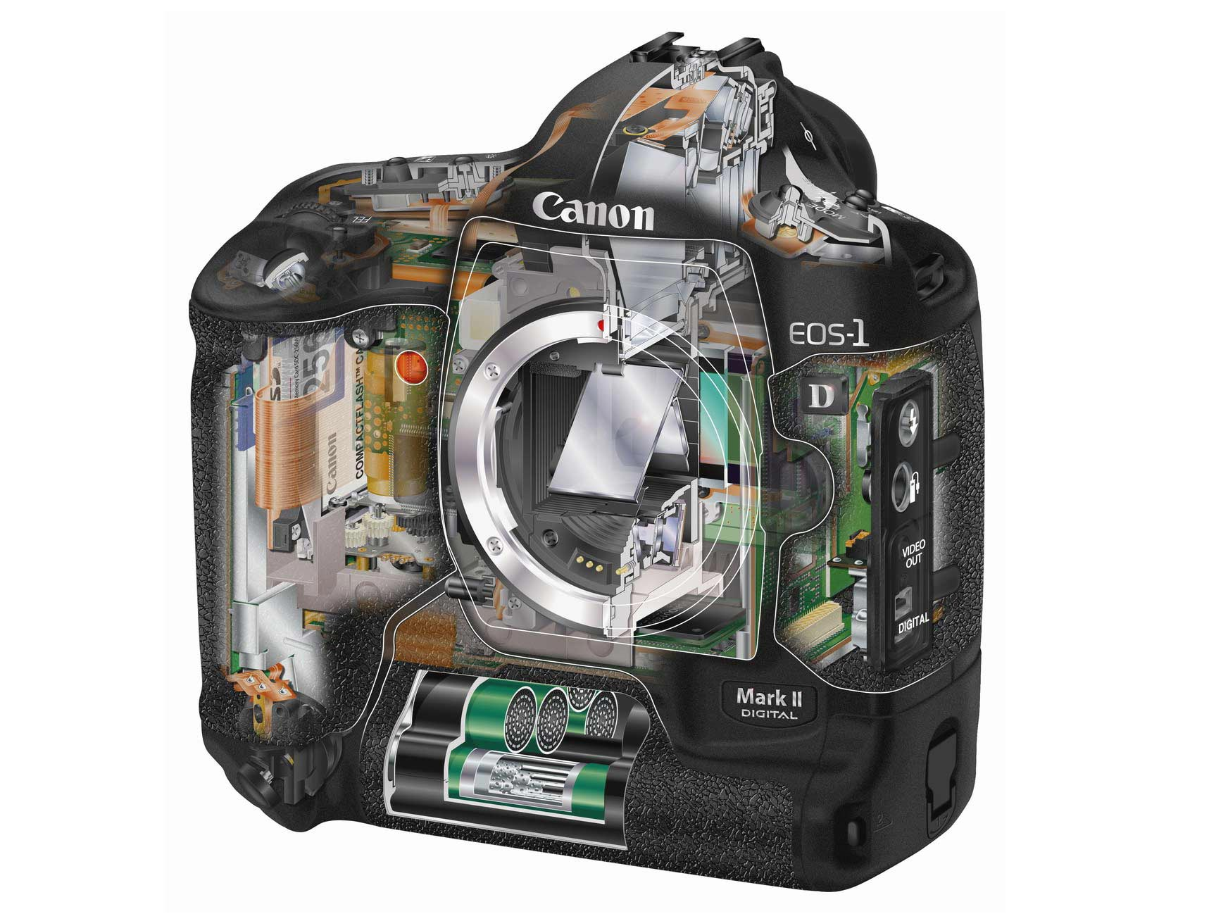 Canon EOS-1D cutaway drawing