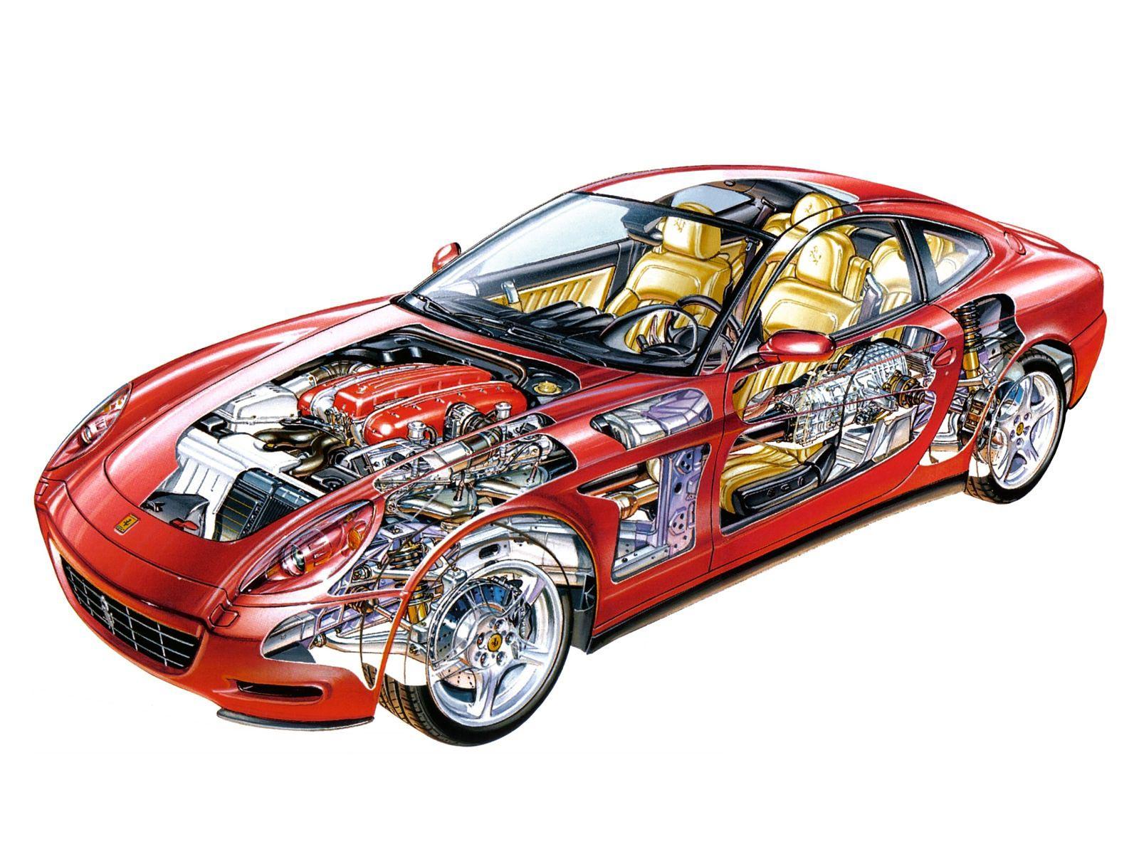 Ferrari 612 cutaway drawing