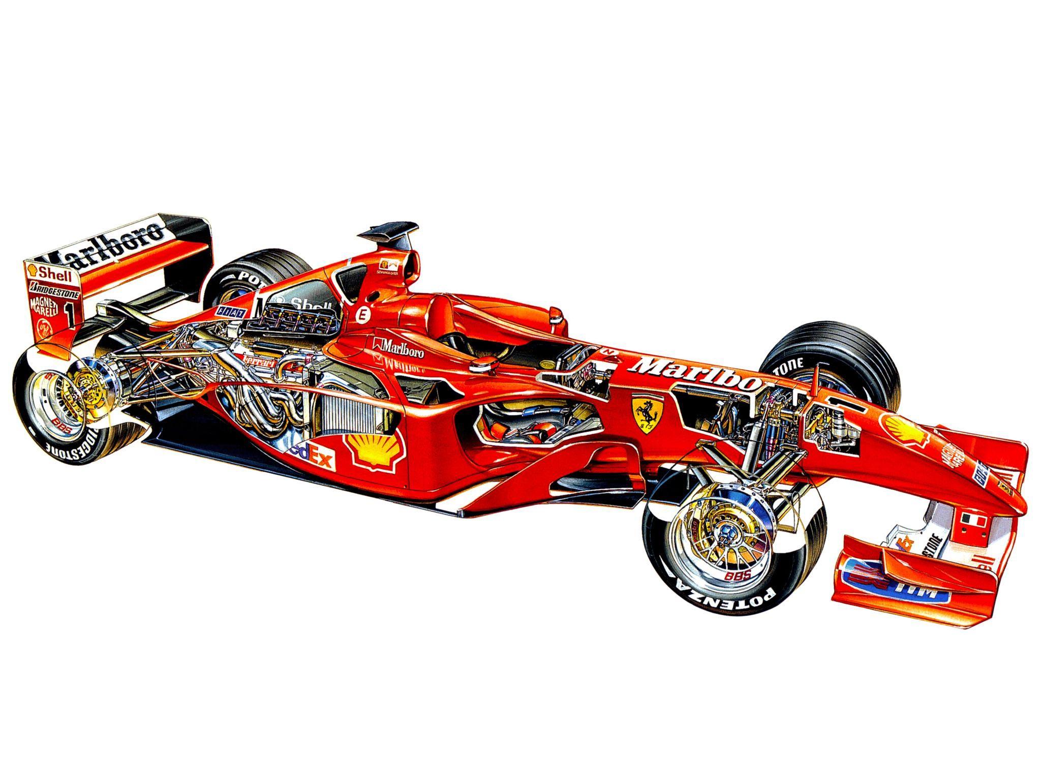 Ferrari F2001 cutaway drawing