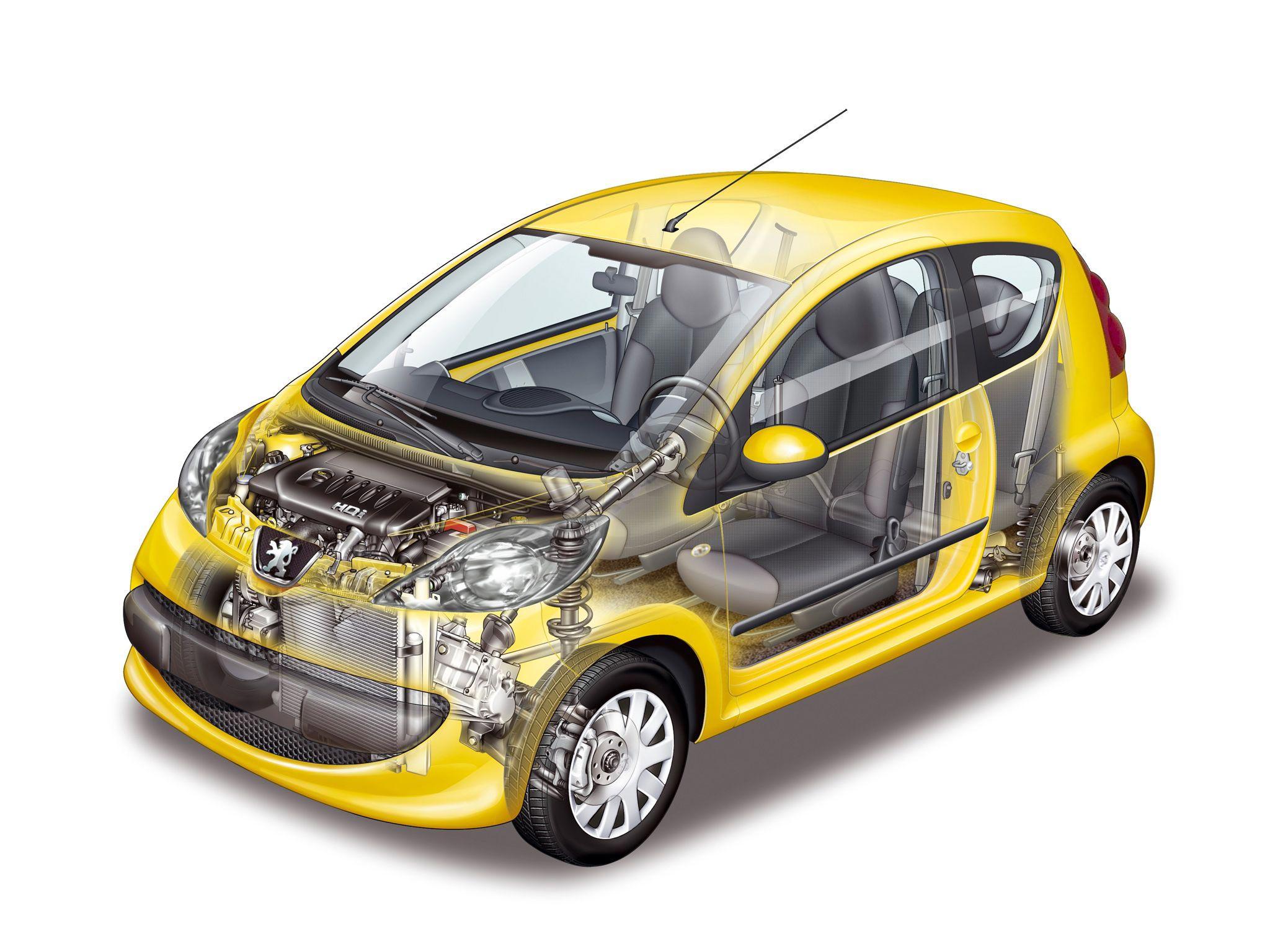 Peugeot 107 cutaway drawing