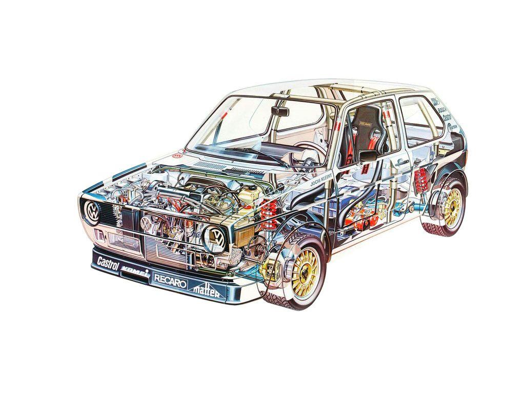 Volkswagen Golf Rally Car cutaway drawing
