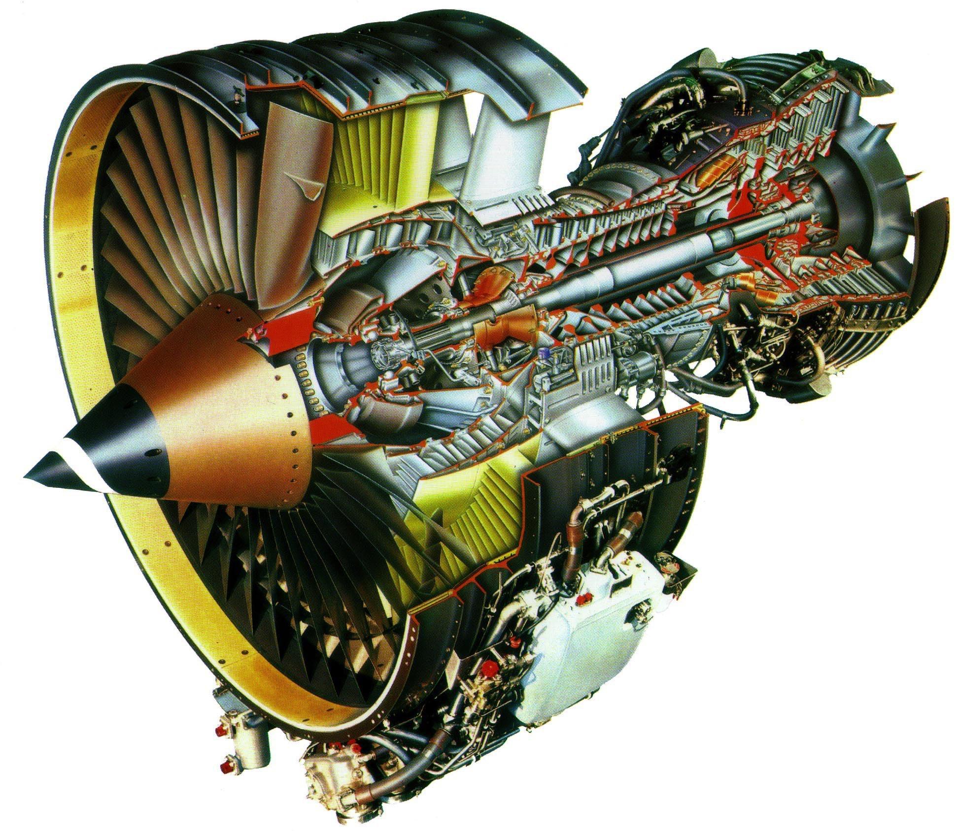 CFM56 turbofan aircraft engine cutaway drawing