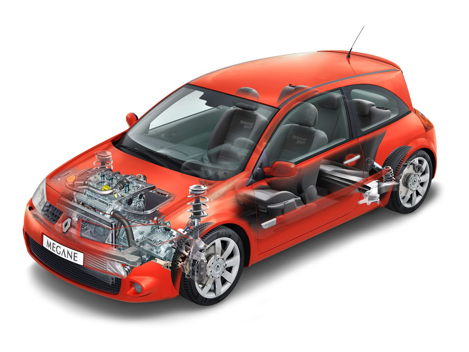 Renault Megane RS cutaway drawing