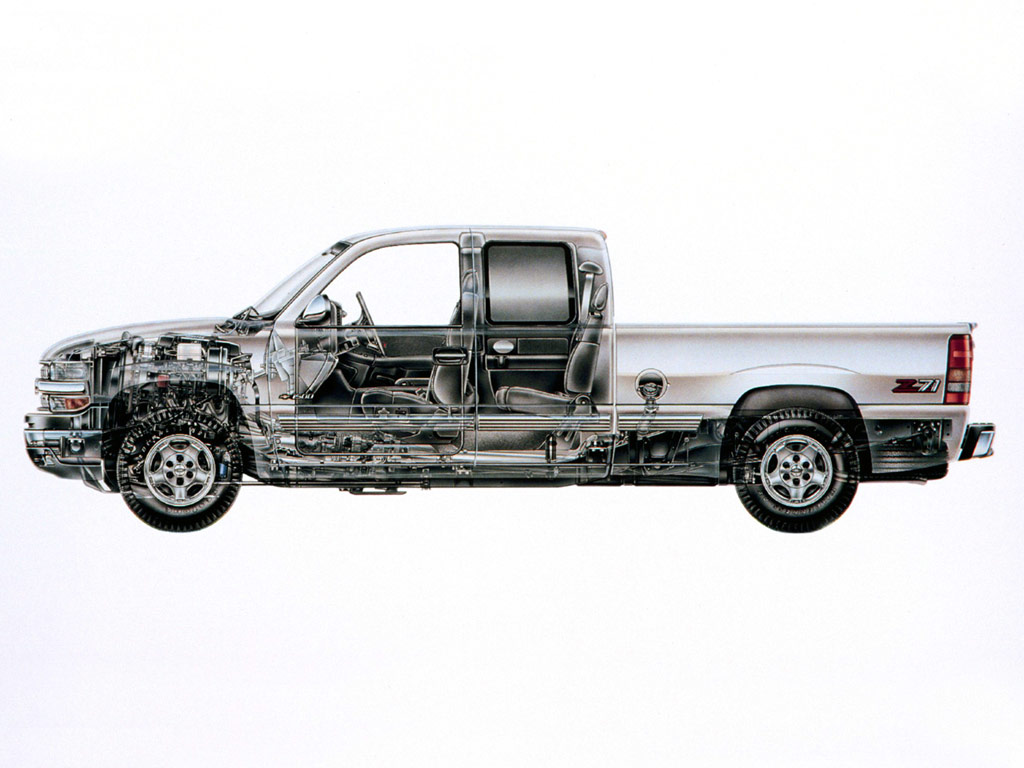 Chevrolet Silverado cutaway drawing