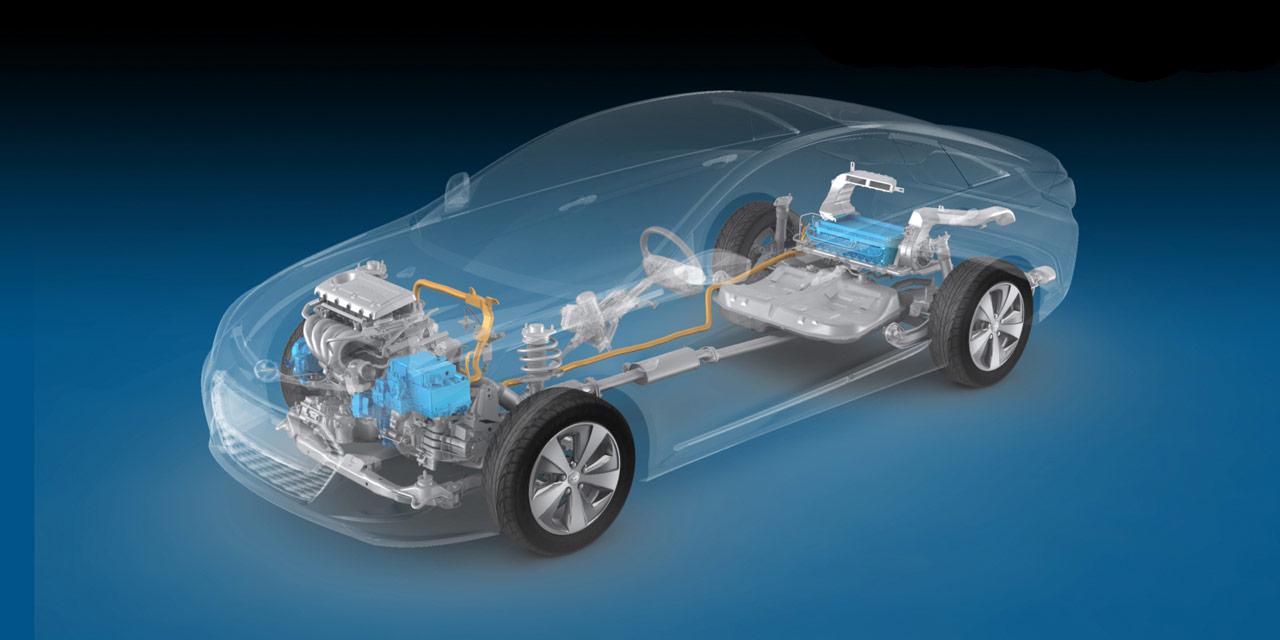 Hyundai Sonata Hybrid cutaway drawing