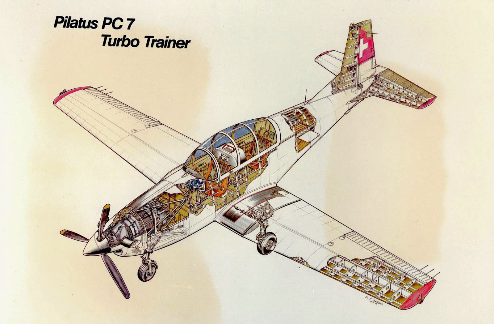 Pilatus PC-7 cutaway drawing