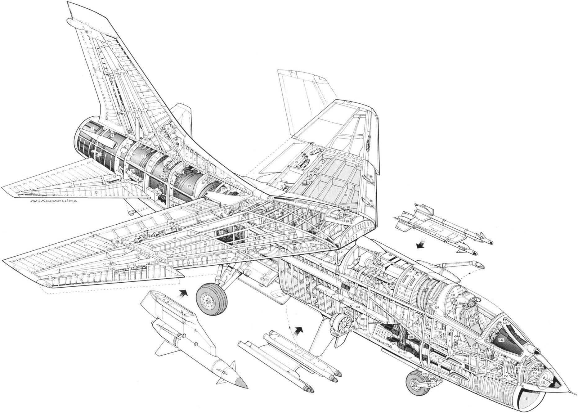 Vought F-8 Crusader cutaway drawing
