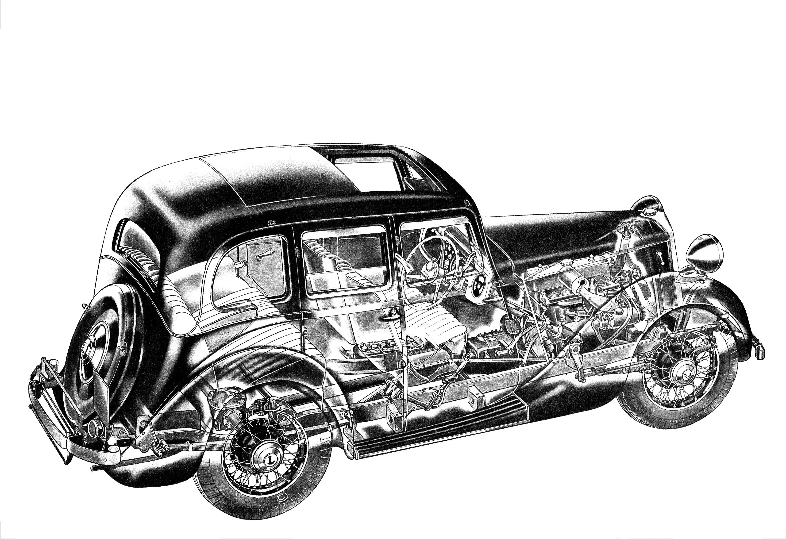 Lanchester Ten cutaway drawing