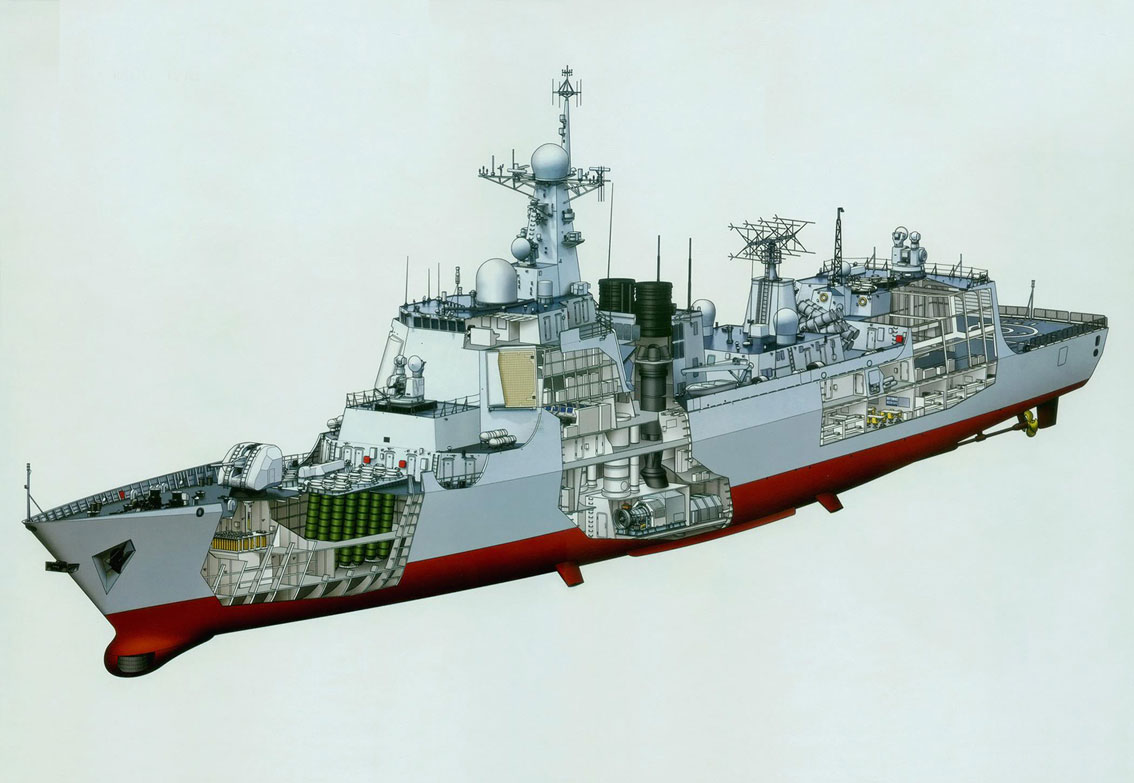 Type 052D destroyer cutaway drawing
