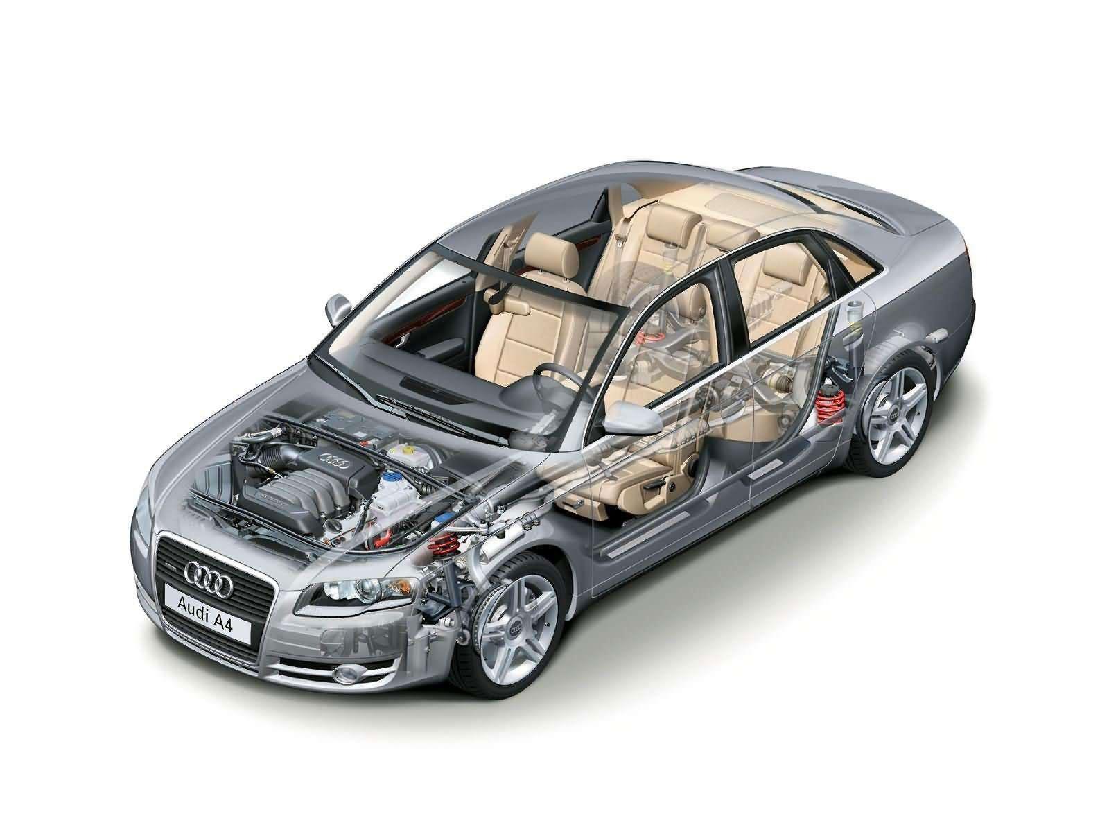 Audi A4 2005 cutaway drawing
