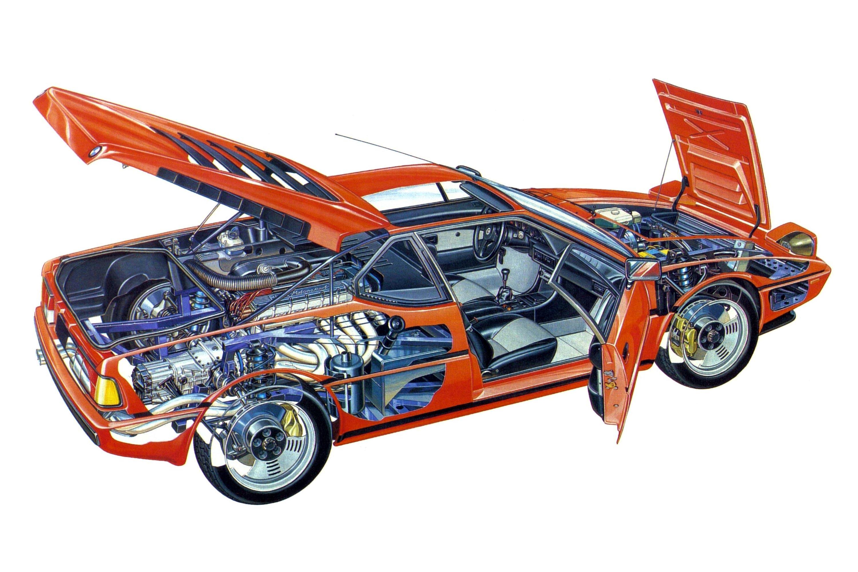 BMW M1 cutaway drawing