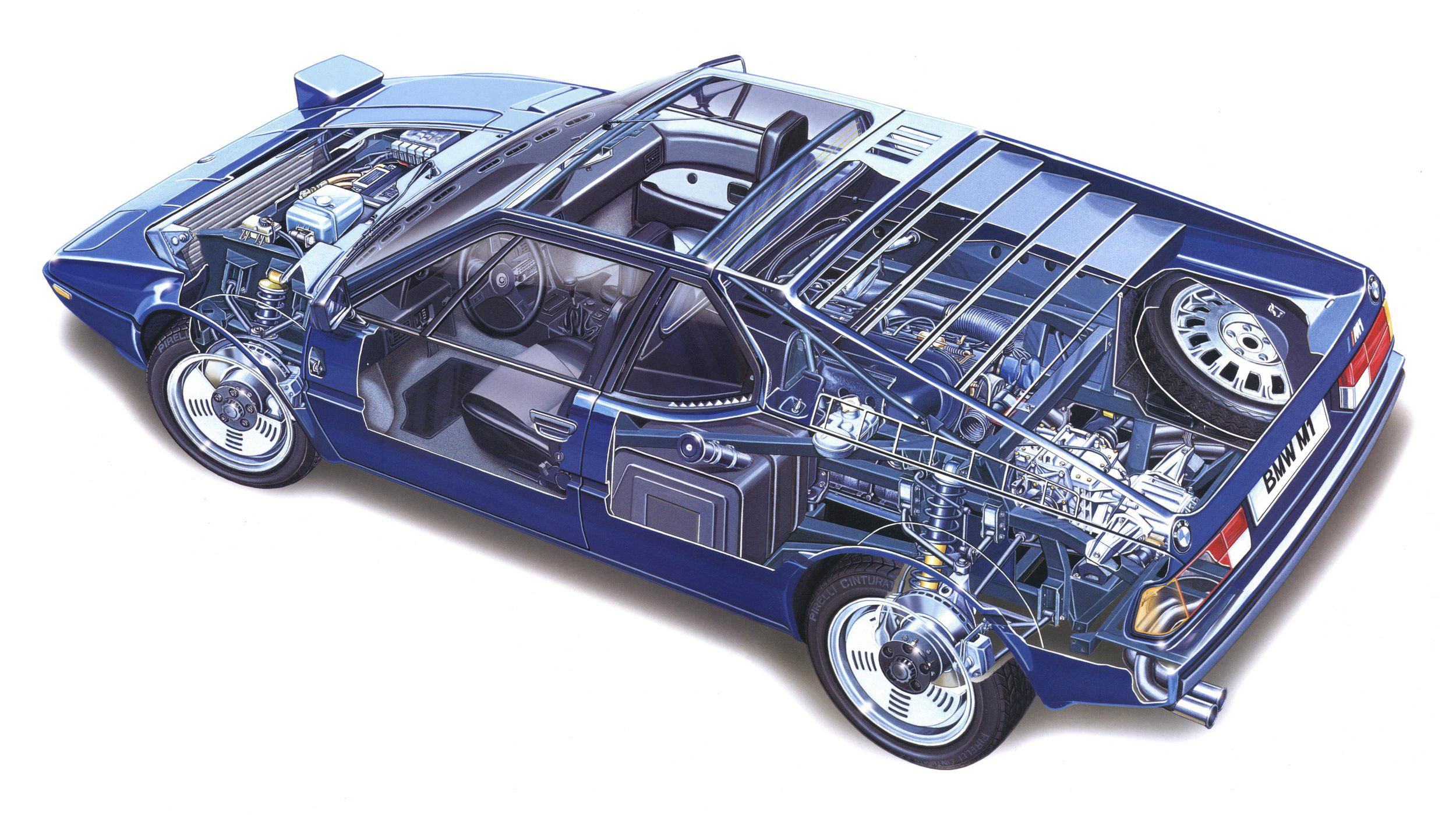BMW M1 coupe cutaway drawing