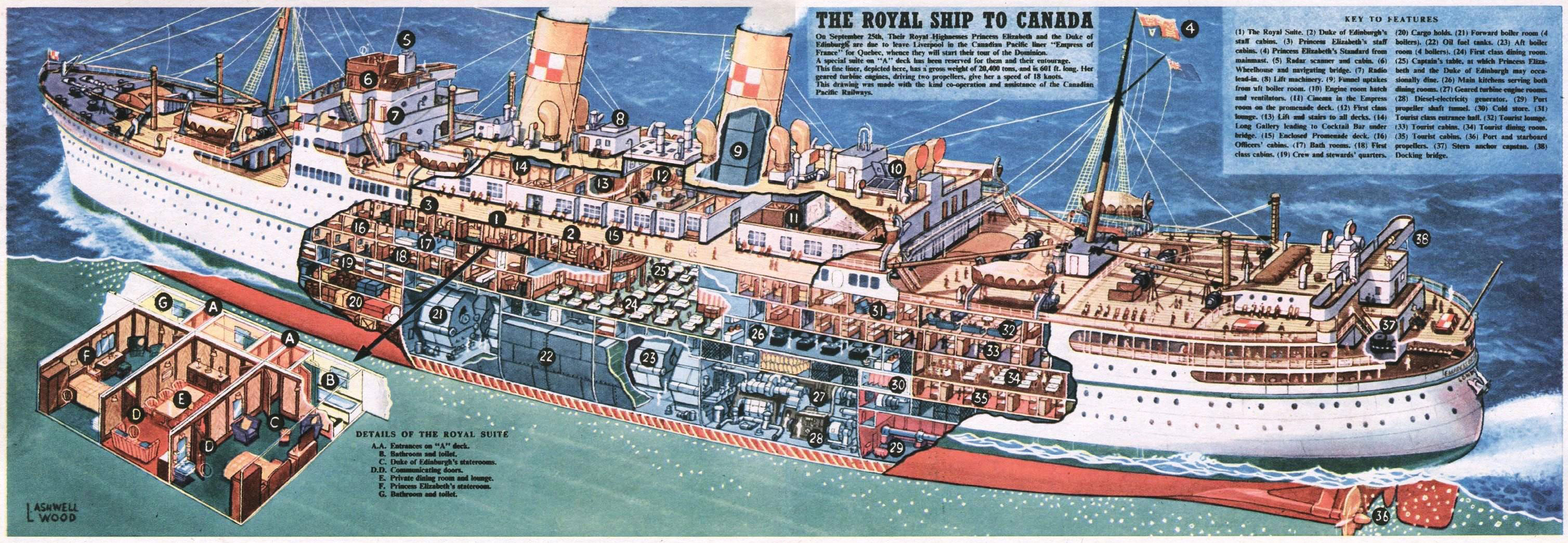 RMS Empress of France cutaway drawing