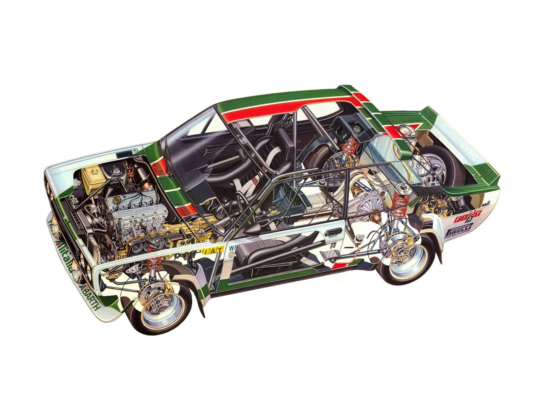 Fiat Abarth 131 Rally Corsa cutaway drawing
