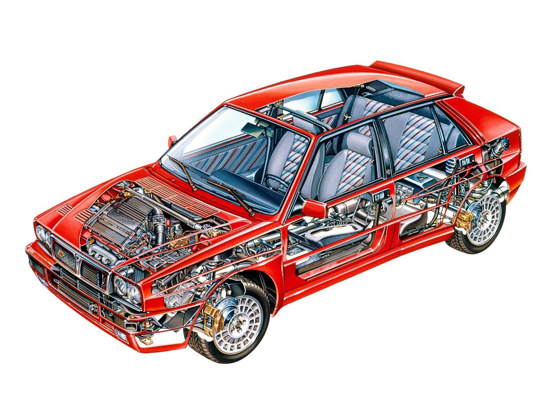Lancia Delta HF Integrale Evo cutaway drawing