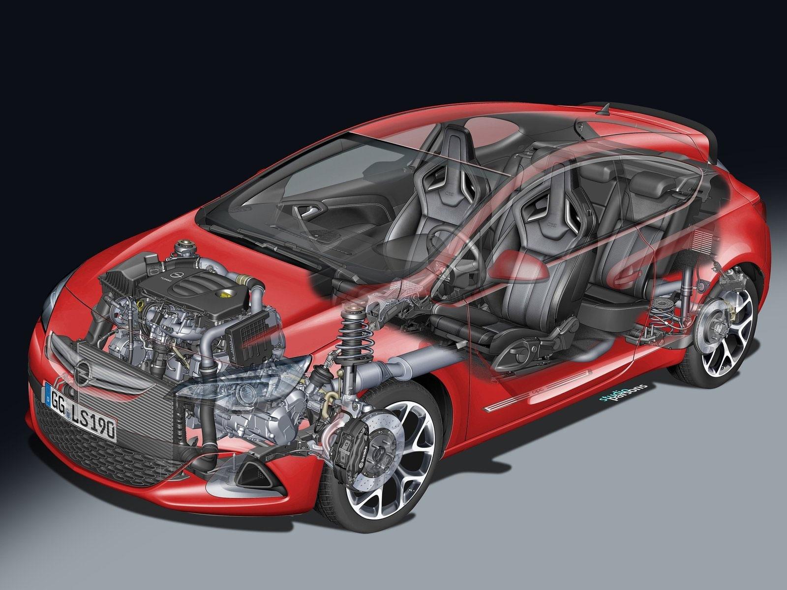 Opel Astra OPC 2013 cutaway drawing