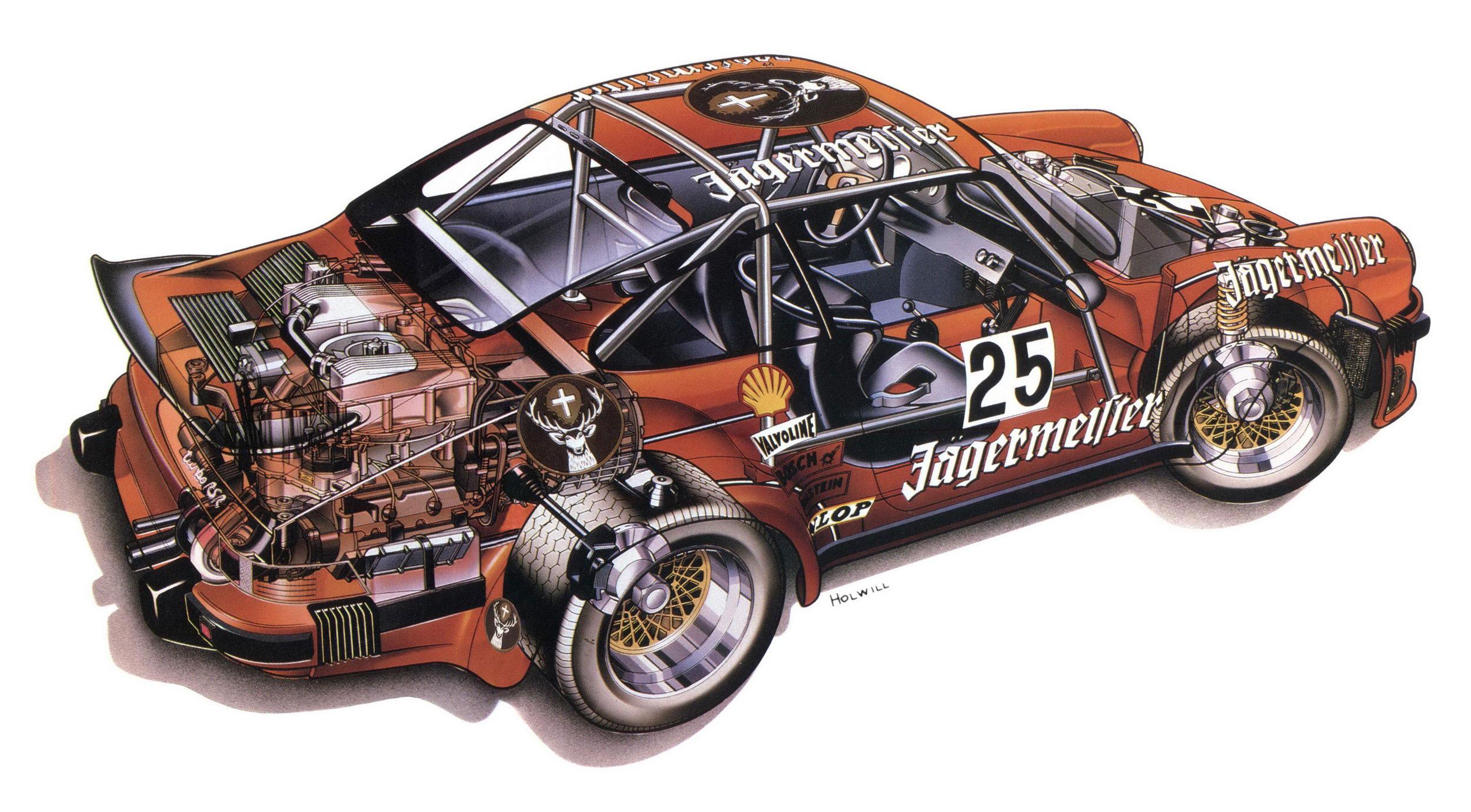Porsche 934 Turbo RSR cutaway drawing