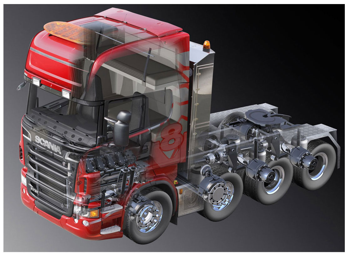 Scania truck cutaway drawing