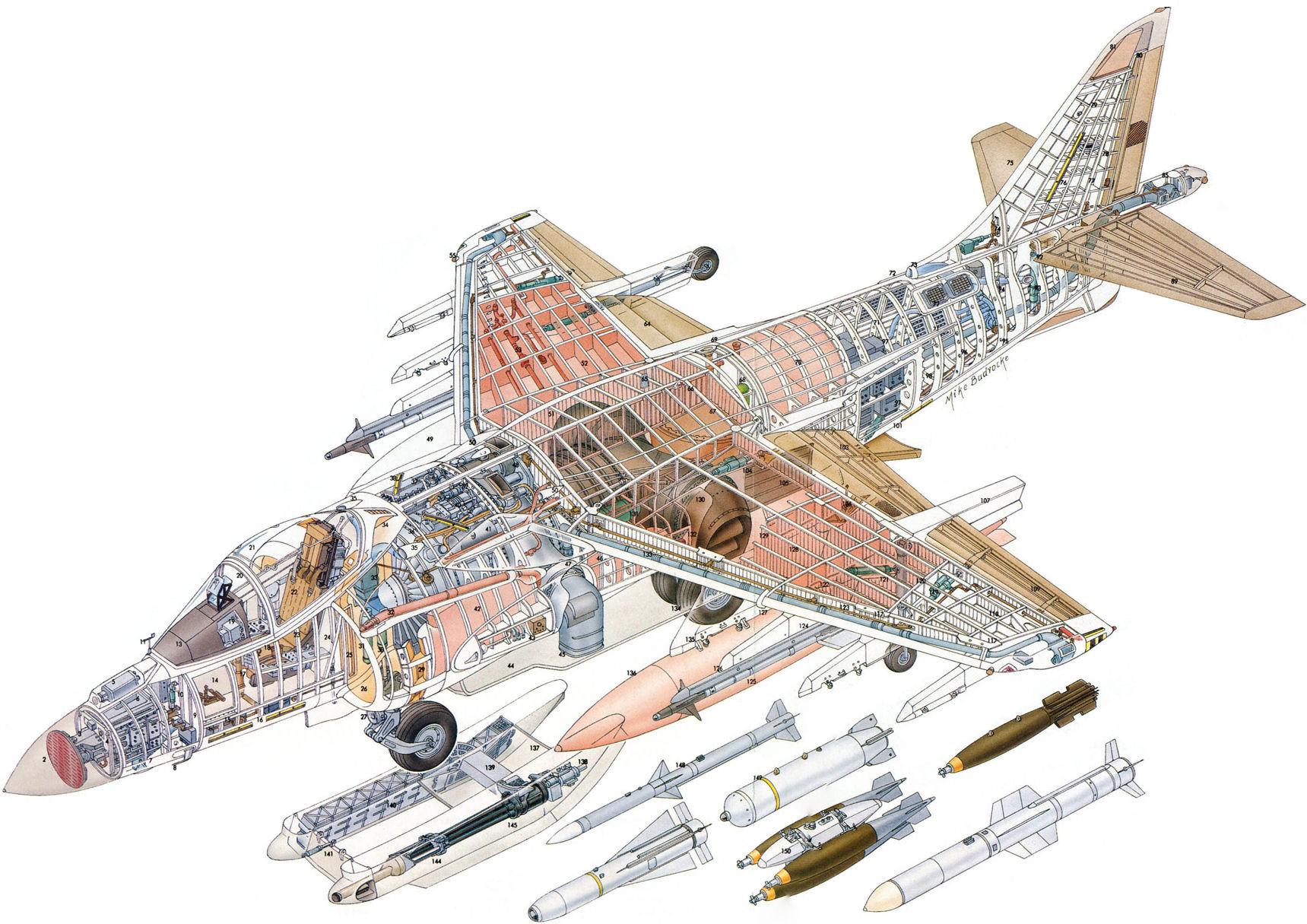 McDonnell Douglas AV-8B Harrier II cutaway drawing