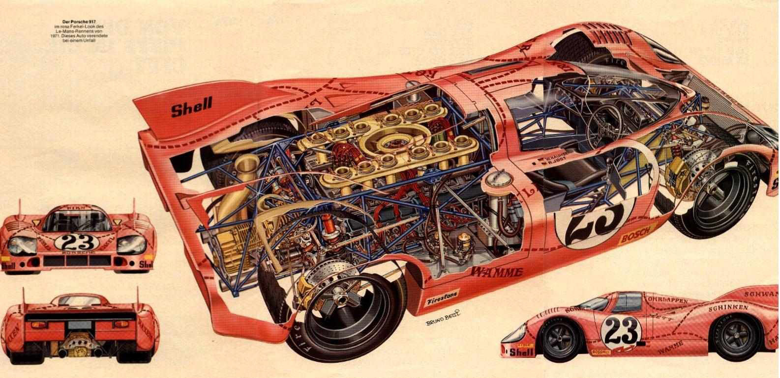 Porsche 917 Racing car cutaway drawing