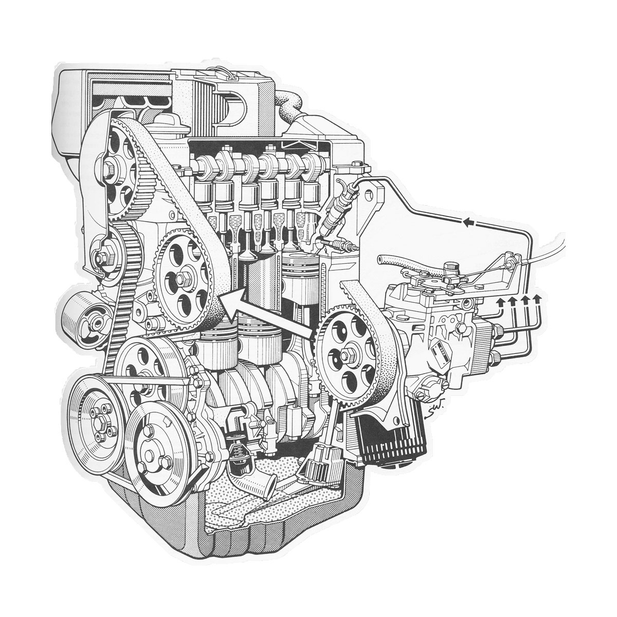 Vintage Diesel Truck Engine cutaway drawing