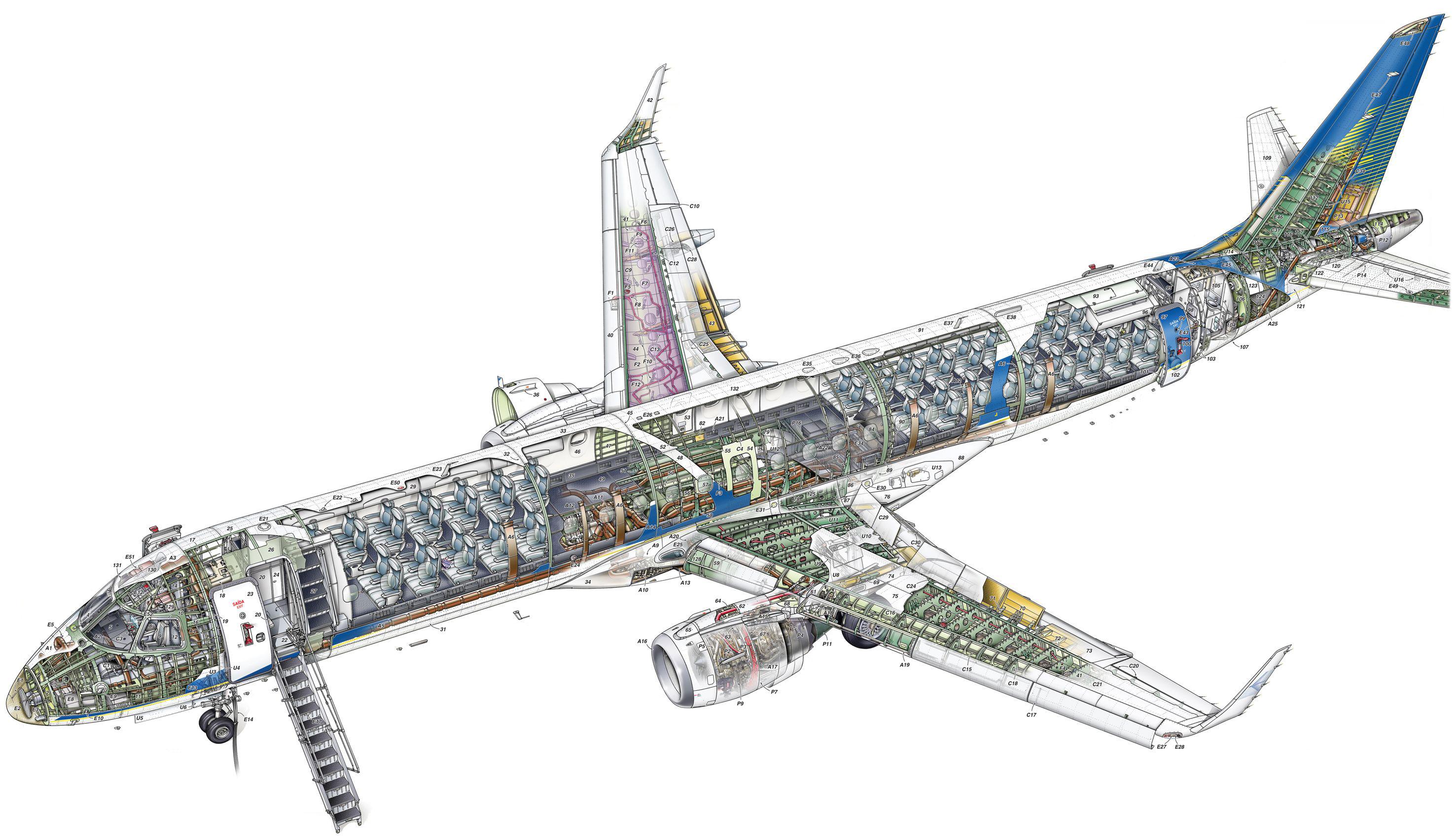 Embraer 190 cutaway drawing