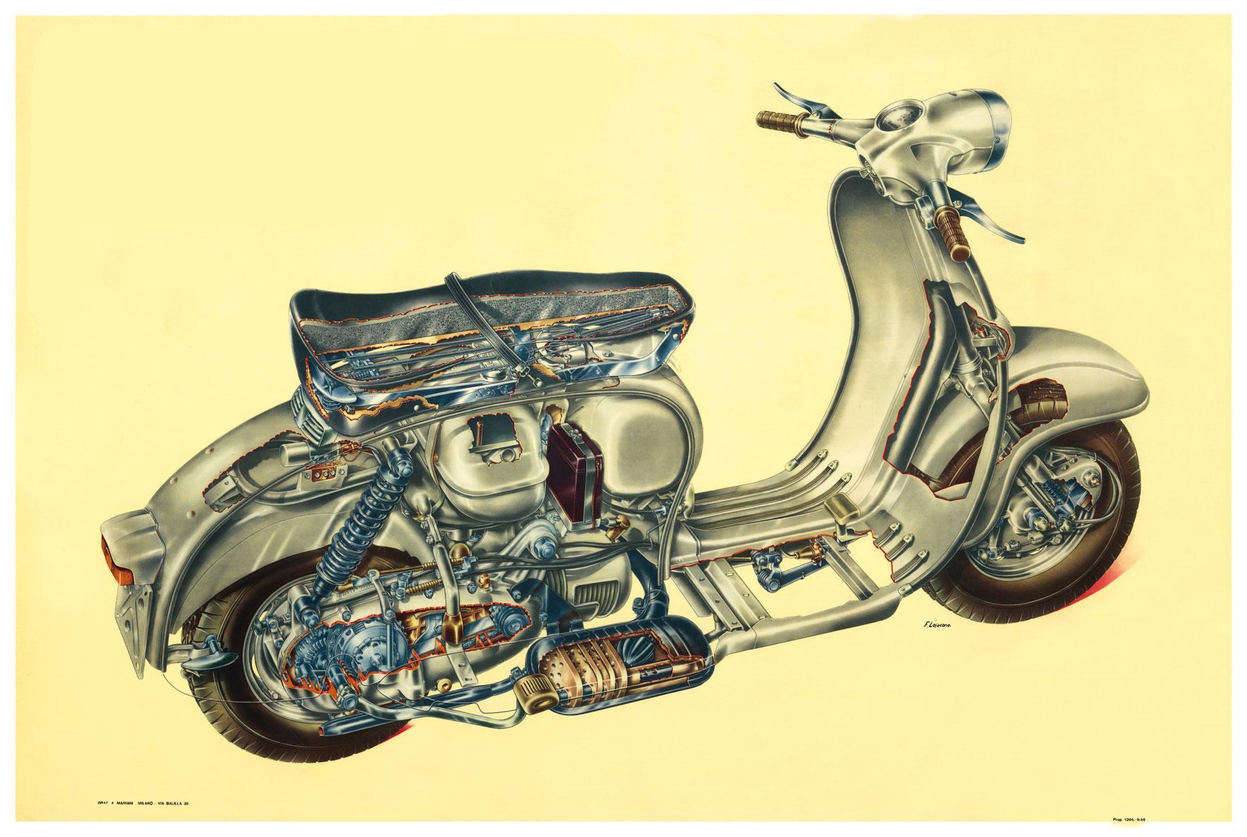 Lambretta Li scooter cutaway drawing