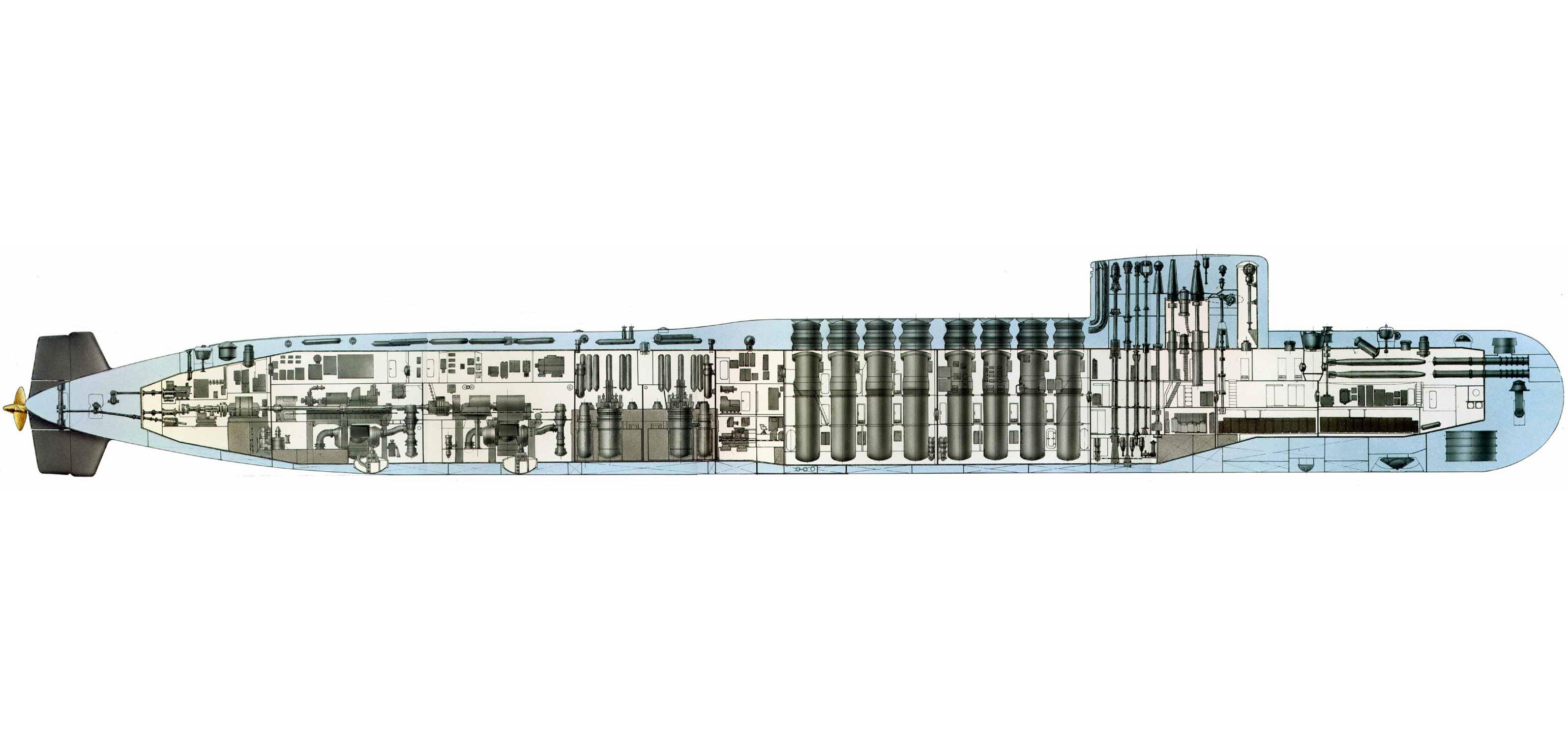 Yankee-class submarine cutaway drawing