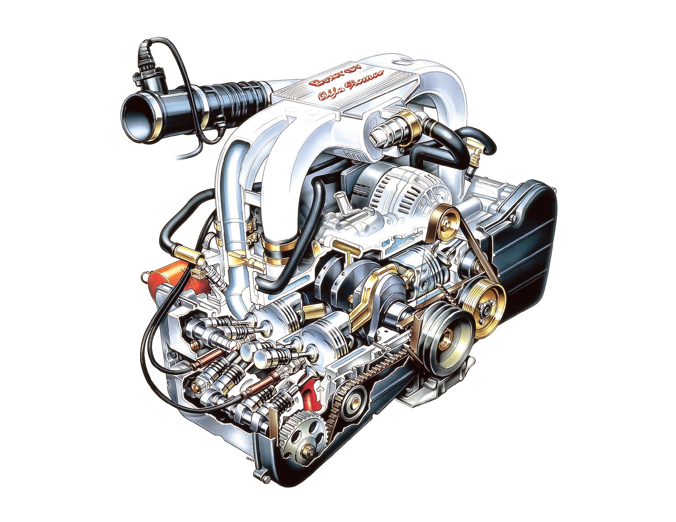 Alfa Romeo AR 33401 engine cutaway drawing