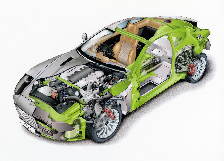 Aston Martin V12 Vanquish cutaway drawing
