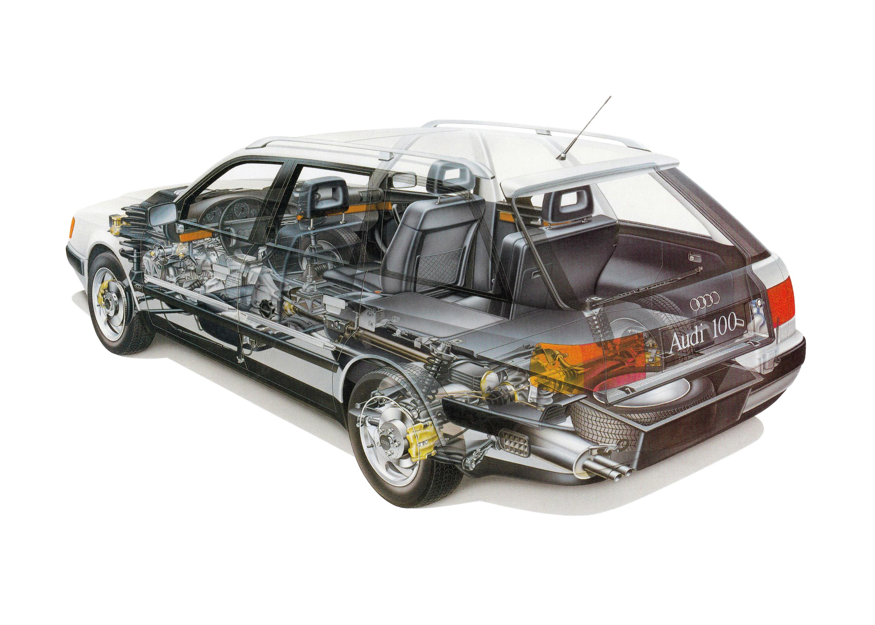 Audi 100 cutaway drawing