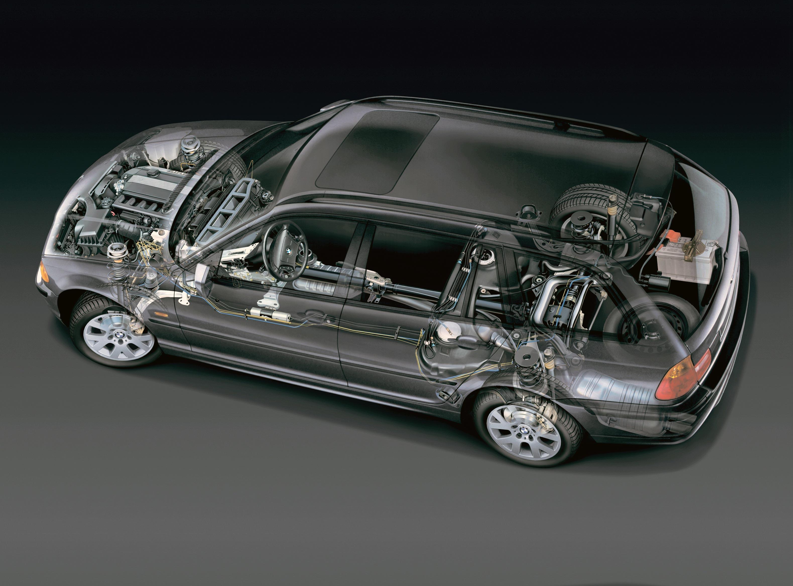 BMW 3 Series Touring E46 cutaway drawing