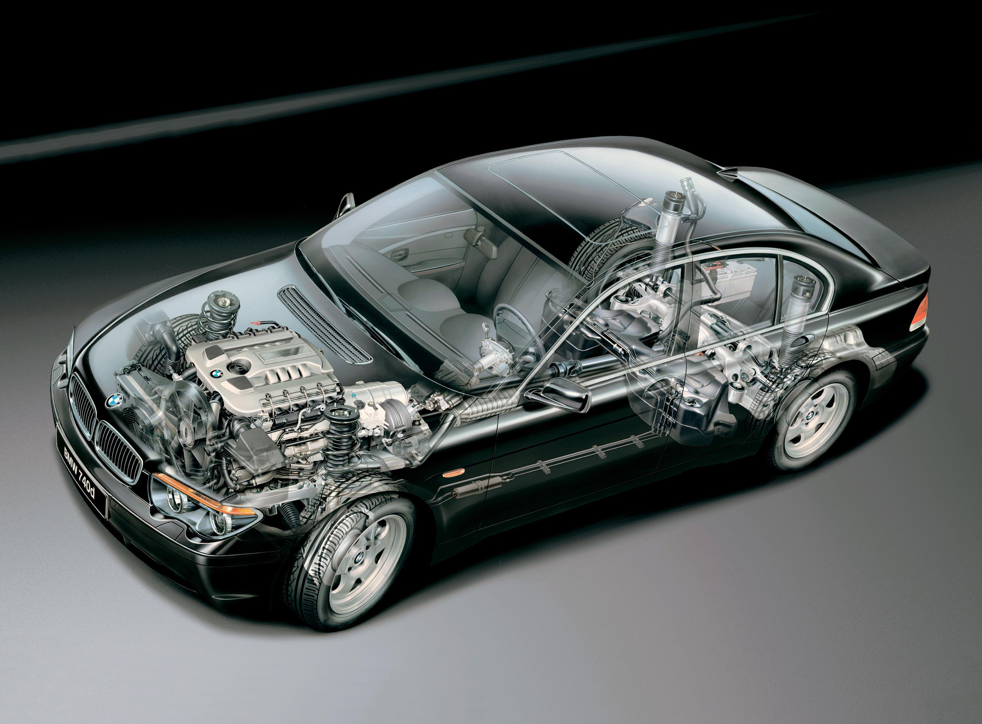 BMW 7 Series E65 2002 cutaway drawing