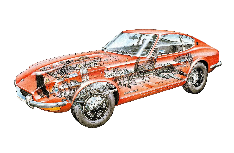 Datsun 240Z cutaway drawing