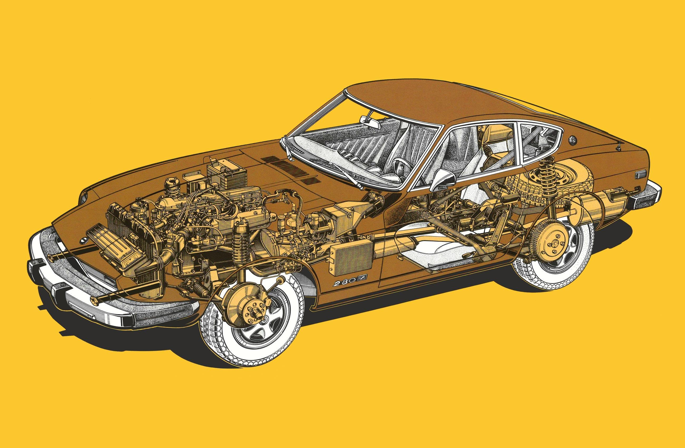 Datsun 280Z cutaway drawing