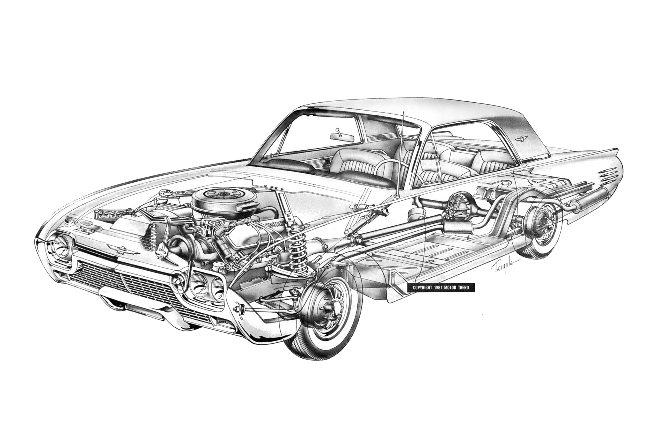 Ford Thunderbird cutaway drawing