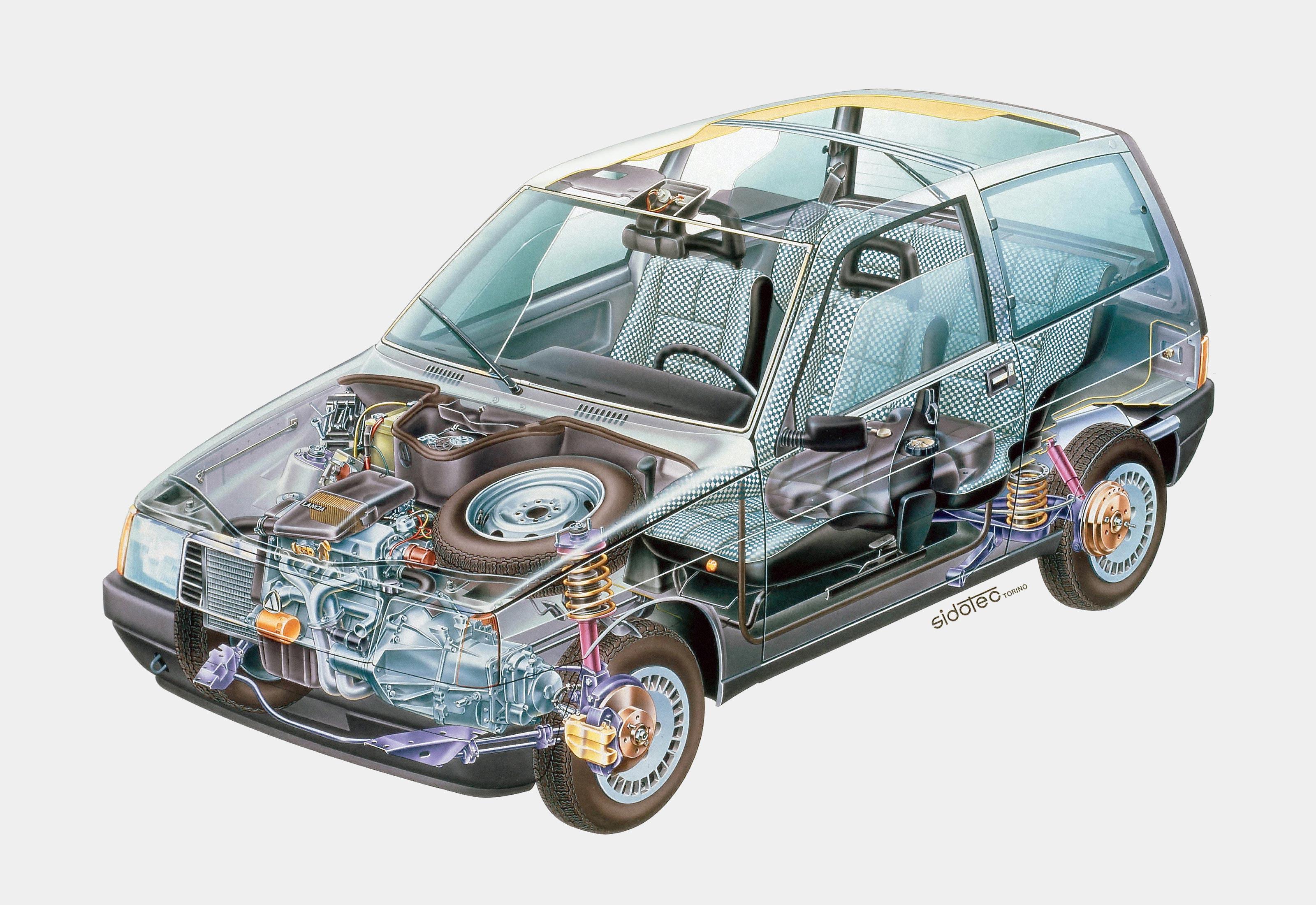Lancia Y10 fire cutaway drawing