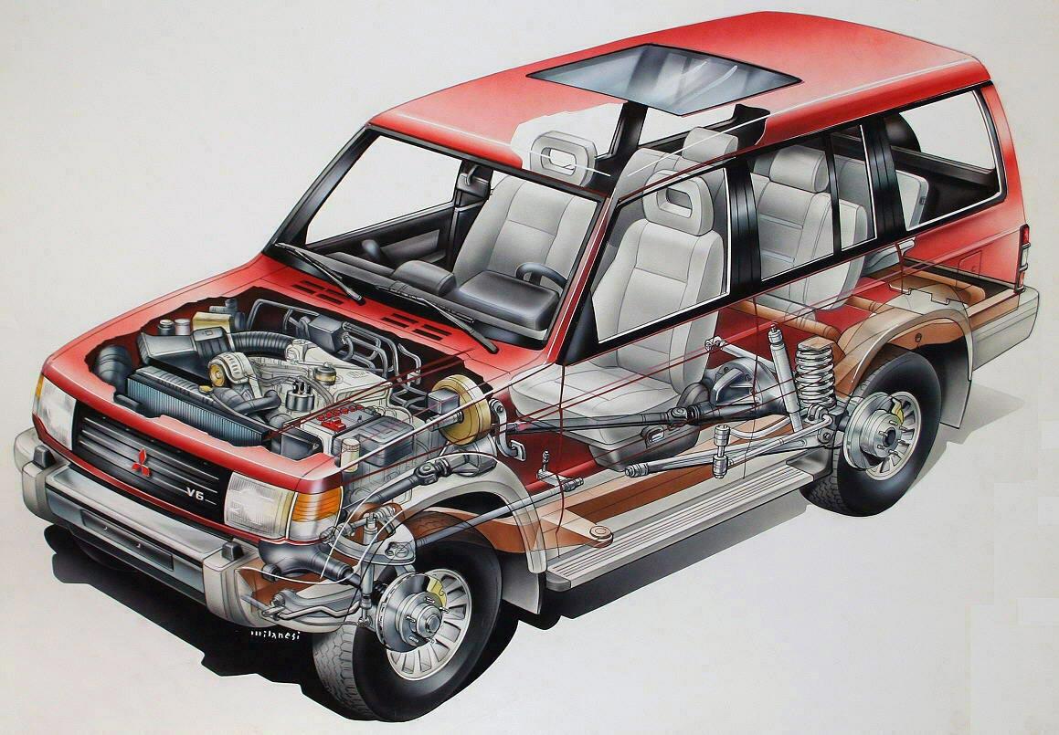 Mitsubishi Pajero Wagon 1991 cutaway drawing