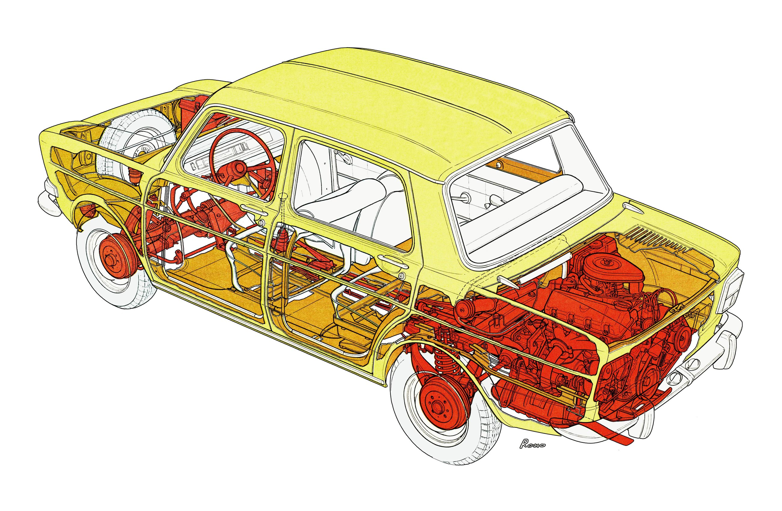 Simca 1000 cutaway drawing