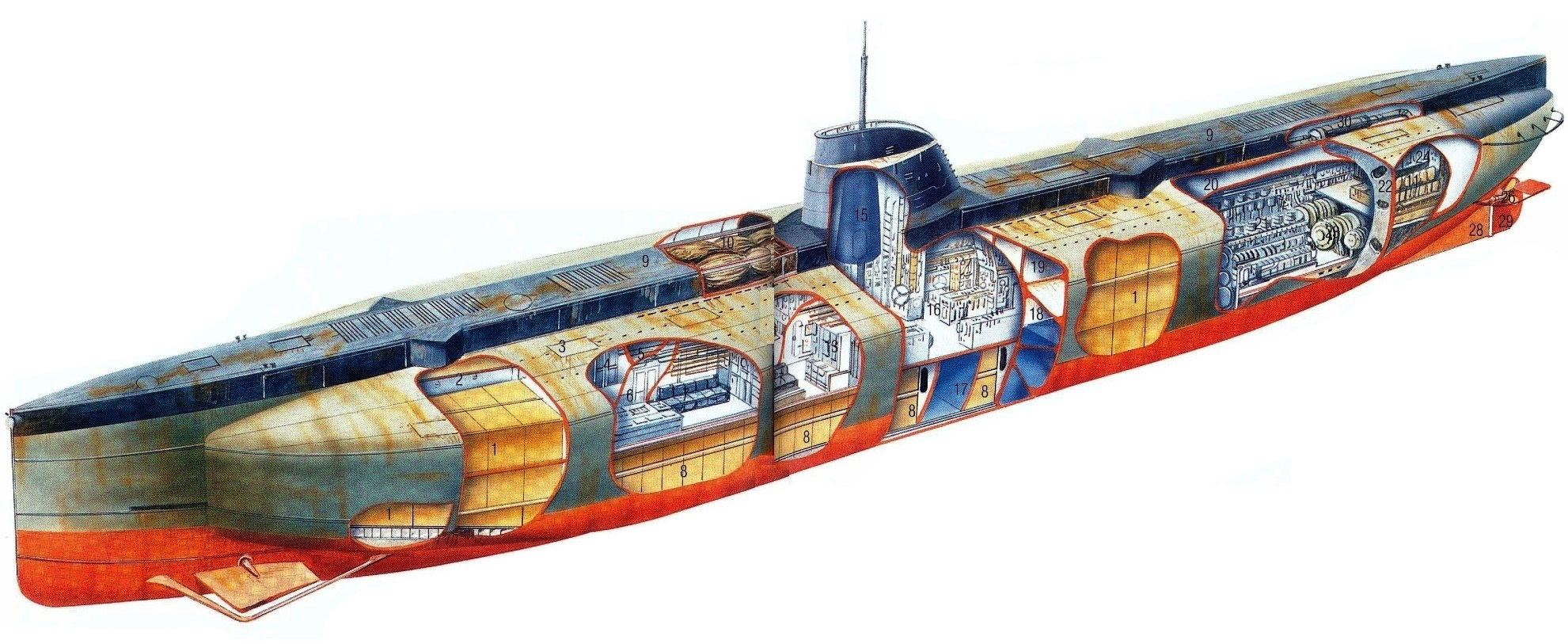 German submarine Deutschland cutaway drawing